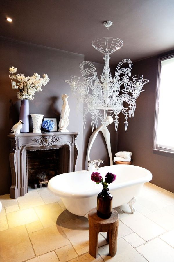 Wire Frame Accents Bathroom with Wire Frame Chandelier Clawfoot Tub Fireplace